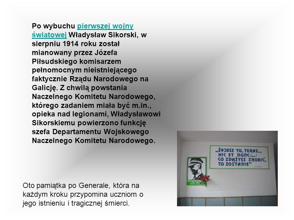 Od chwili rozpoczęcia nauki w szkole średniej Władysław Sikorski związany był z organizacjami niepodległościowymi i samopomocowymi młodzieży działając