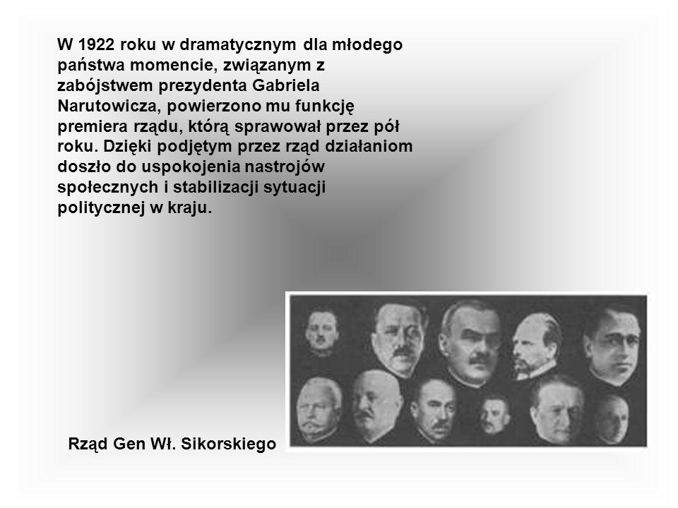 W 1922 roku w dramatycznym dla młodego państwa momencie, związanym z zabójstwem prezydenta Gabriela Narutowicza, powierzono mu funkcję premiera rządu, którą sprawował przez pół roku.