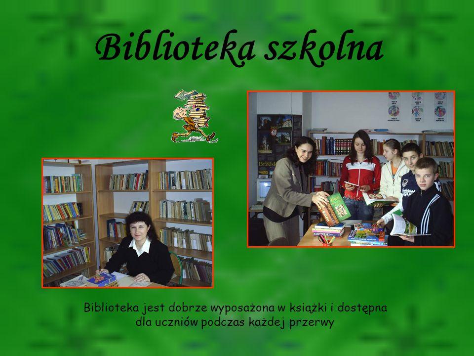 Biblioteka szkolna Biblioteka jest dobrze wyposażona w książki i dostępna dla uczniów podczas każdej przerwy