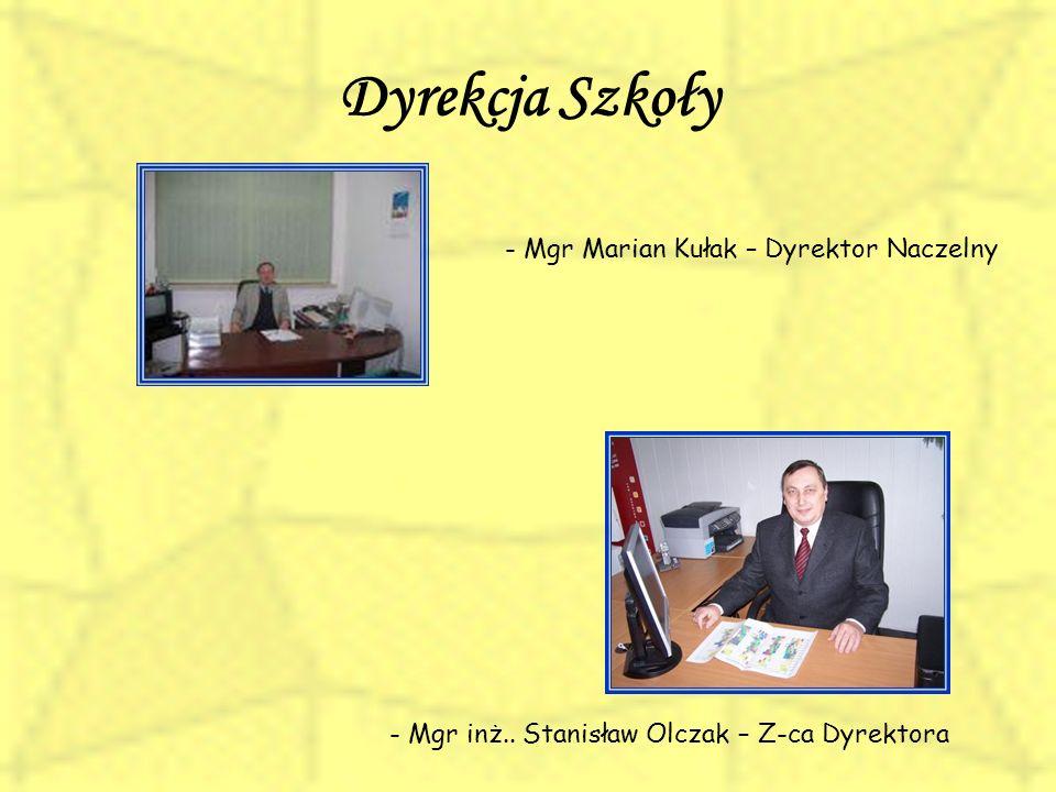 Dyrekcja Szkoły - Mgr Marian Kułak – Dyrektor Naczelny - Mgr inż.. Stanisław Olczak – Z-ca Dyrektora