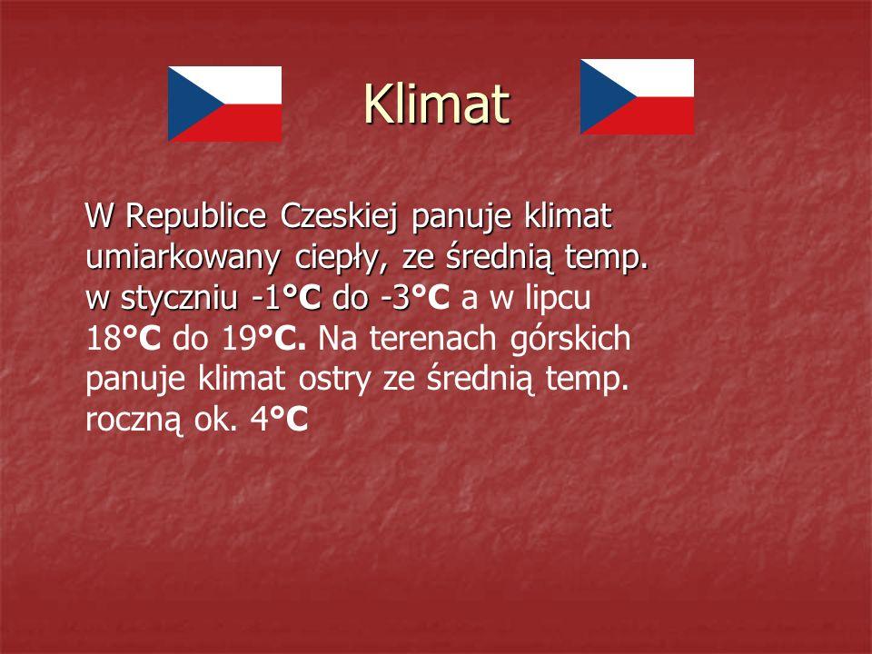 Klimat W Republice Czeskiej panuje klimat umiarkowany ciepły, ze średnią temp.