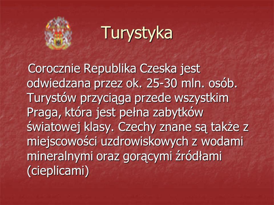 Turystyka Corocznie Republika Czeska jest odwiedzana przez ok.
