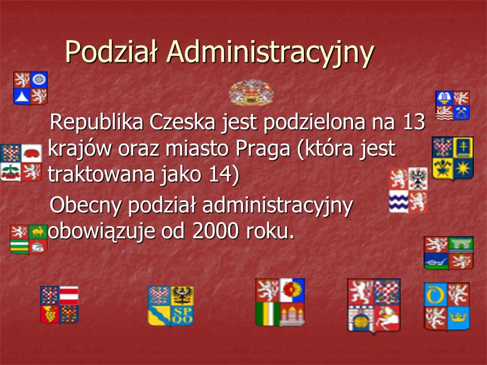 Podział Administracyjny Republika Czeska jest podzielona na 13 krajów oraz miasto Praga (która jest traktowana jako 14) Republika Czeska jest podzielona na 13 krajów oraz miasto Praga (która jest traktowana jako 14) Obecny podział administracyjny obowiązuje od 2000 roku.