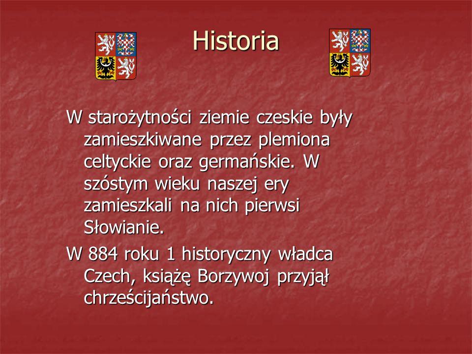 Historia W starożytności ziemie czeskie były zamieszkiwane przez plemiona celtyckie oraz germańskie.