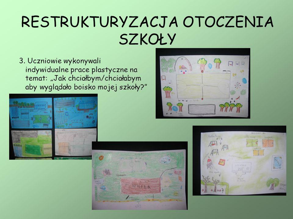 3. Uczniowie wykonywali indywidualne prace plastyczne na temat: Jak chciałbym/chciałabym aby wyglądało boisko mojej szkoły?