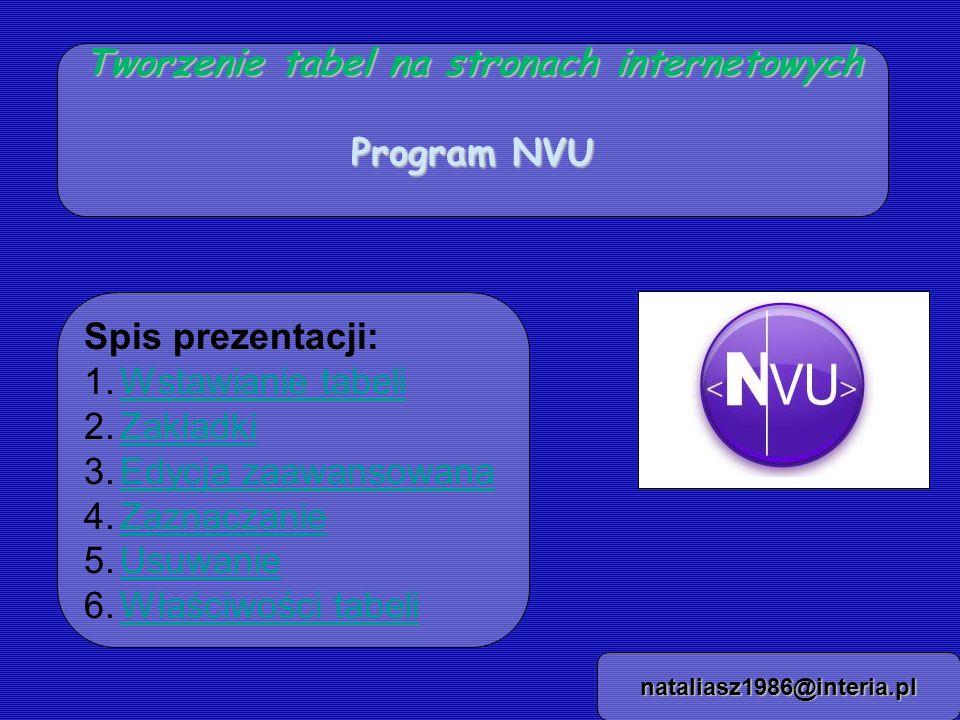 Tworzenie tabel na stronach internetowych Program NVU nataliasz1986@interia.pl Spis prezentacji: 1.Wstawianie tabeliWstawianie tabeli 2.ZakładkiZakładki 3.Edycja zaawansowanaEdycja zaawansowana 4.ZaznaczanieZaznaczanie 5.UsuwanieUsuwanie 6.Właściwości tabeliWłaściwości tabeli
