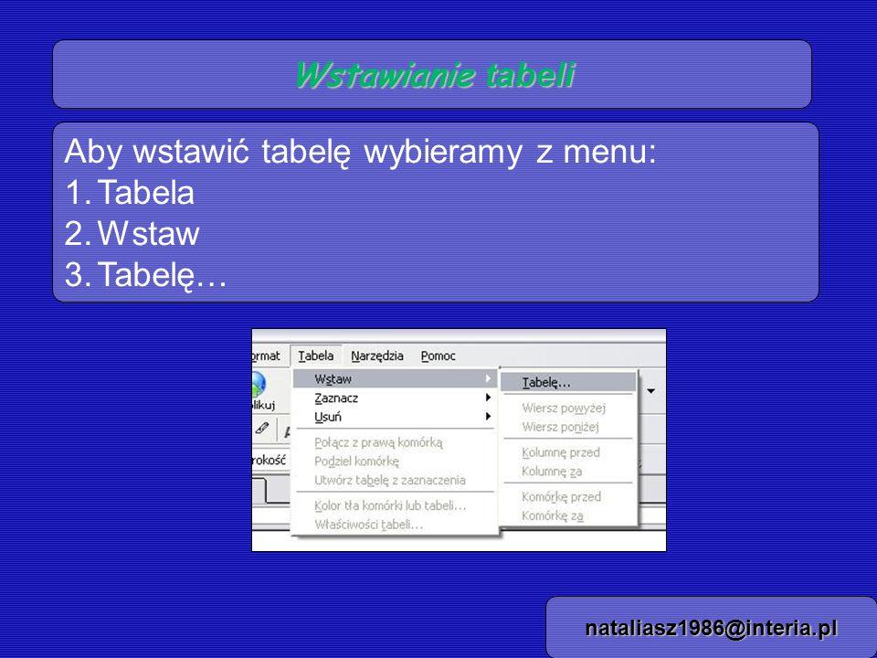 Wstawianie tabeli - zakładki nataliasz1986@interia.pl Pojawia się okienko z wyborami trybów w jakich będziemy tworzyć tabelę: szybko, dokładnie i właściwości komórek.