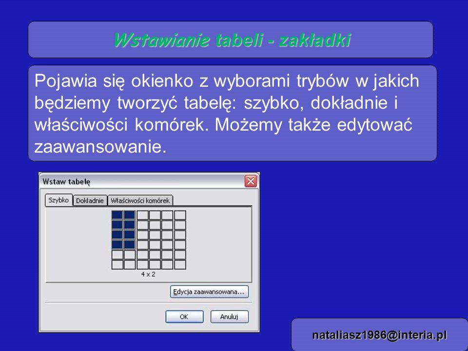 Wstawianie tabeli - zakładki nataliasz1986@interia.pl Pojawia się okienko z wyborami trybów w jakich będziemy tworzyć tabelę: szybko, dokładnie i właś