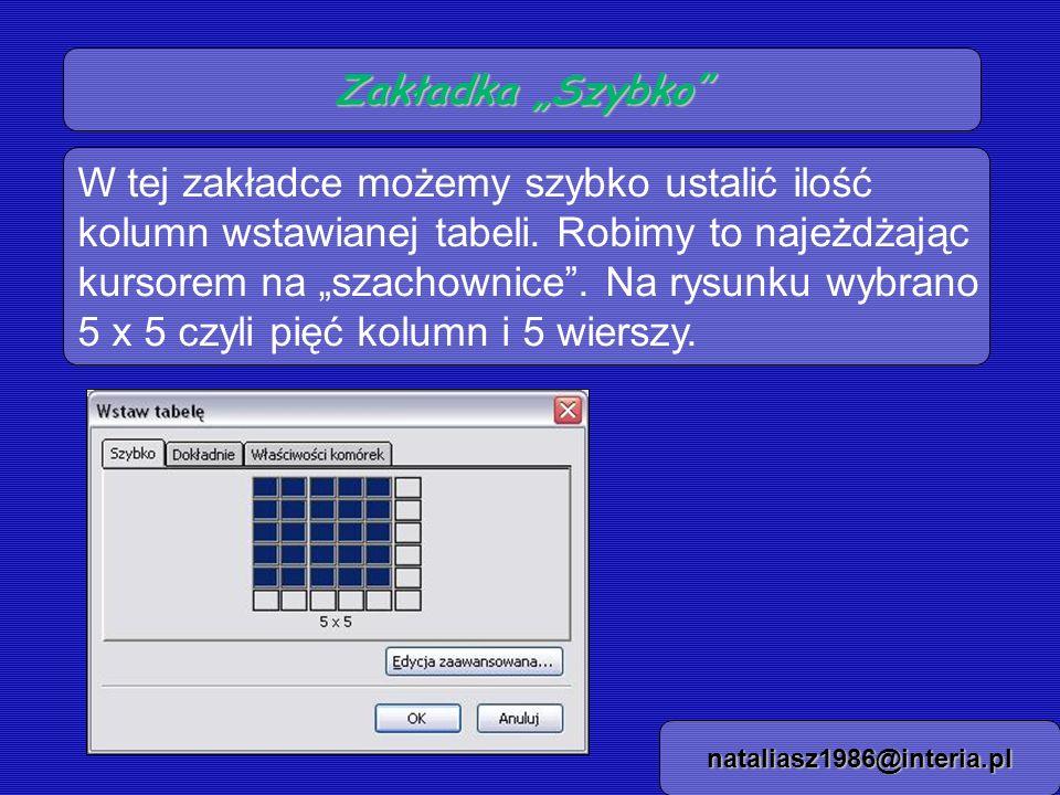 Zakładka Dokładnie nataliasz1986@interia.pl Tu możemy określić liczbowo ilość kolumn, wierszy, szerokość tabeli i obramowania.