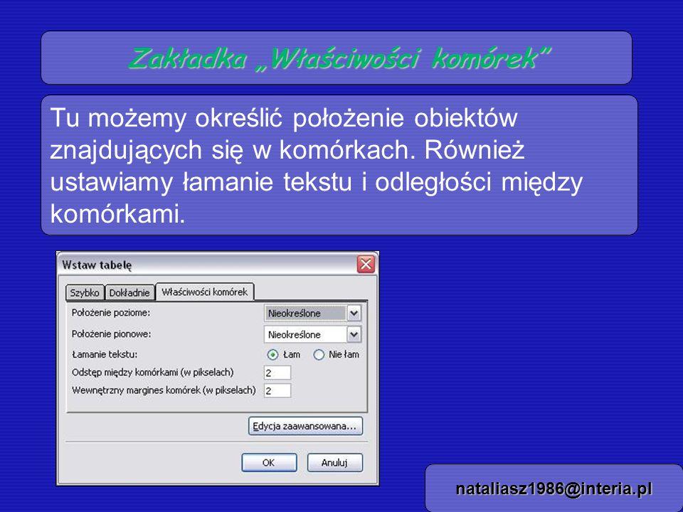 Zakładka Właściwości komórek nataliasz1986@interia.pl Tu możemy określić położenie obiektów znajdujących się w komórkach. Również ustawiamy łamanie te