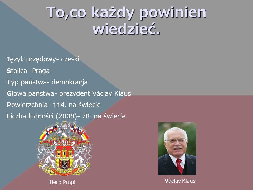 To,co każdy powinien wiedzieć. Język urzędowy- czeski Stolica- Praga Typ państwa- demokracja Głowa państwa- prezydent Václav Klaus Powierzchnia- 114.