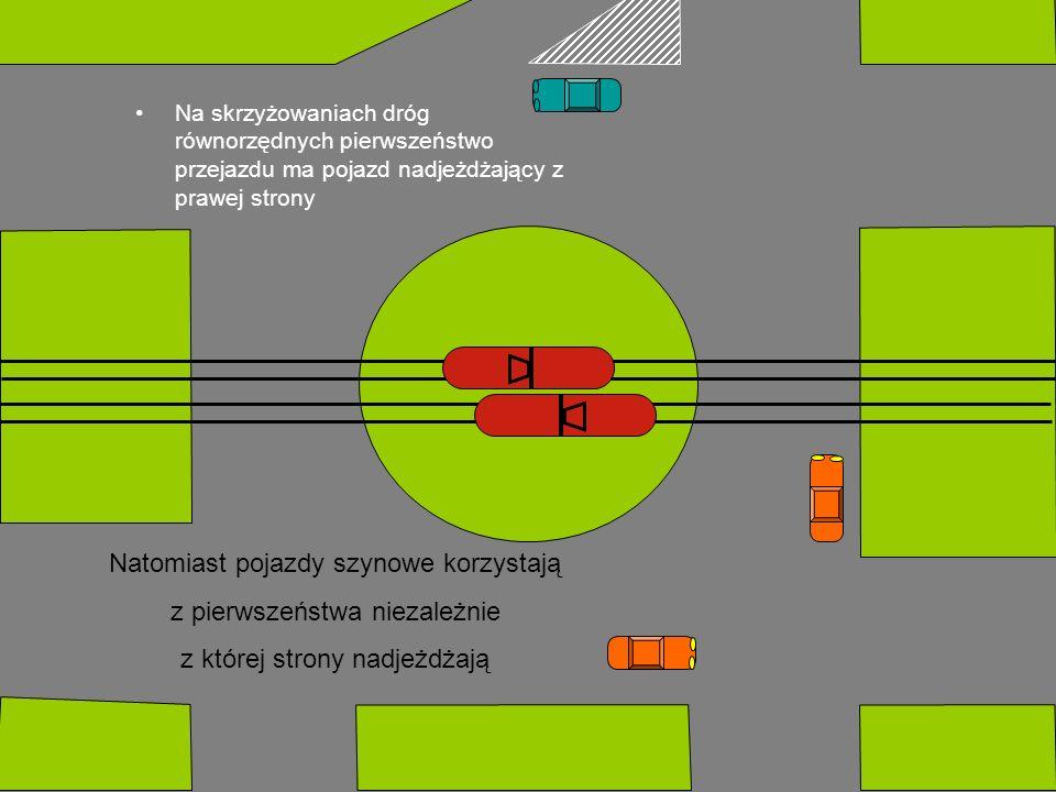 Na skrzyżowaniach dróg równorzędnych pierwszeństwo przejazdu ma pojazd nadjeżdżający z prawej strony Natomiast pojazdy szynowe korzystają z pierwszeństwa niezależnie z której strony nadjeżdżają
