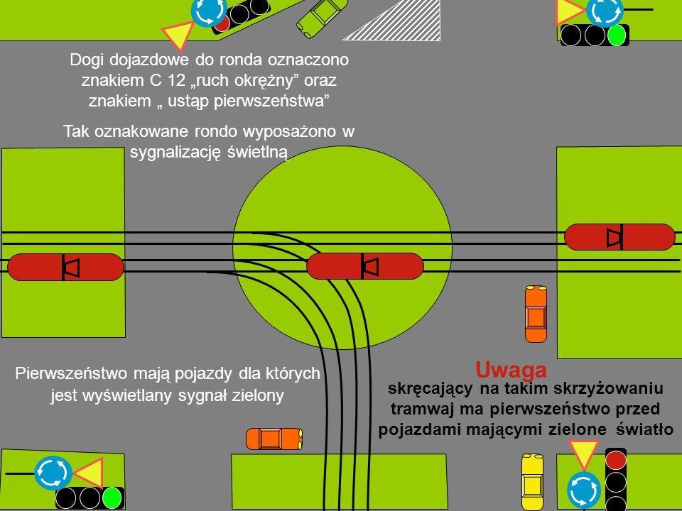 Dogi dojazdowe do ronda oznaczono znakiem C 12 ruch okrężny oraz znakiem ustąp pierwszeństwa Tak oznakowane rondo wyposażono w sygnalizację świetlną Pierwszeństwo mają pojazdy dla których jest wyświetlany sygnał zielony Uwaga skręcający na takim skrzyżowaniu tramwaj ma pierwszeństwo przed pojazdami mającymi zielone światło