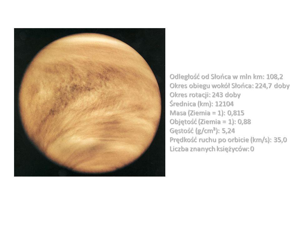 Odległość od Słońca w mln km: 108,2 Okres obiegu wokół Słońca: 224,7 doby Okres rotacji: 243 doby Średnica (km): 12104 Masa (Ziemia = 1): 0,815 Objęto