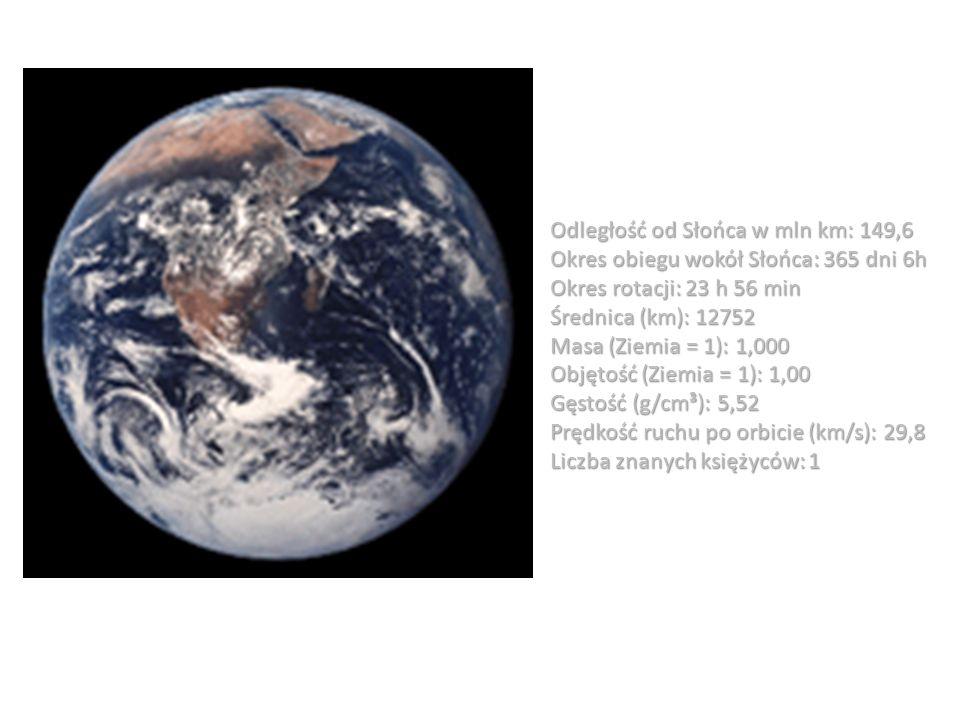 Odległość od Słońca w mln km: 149,6 Okres obiegu wokół Słońca: 365 dni 6h Okres rotacji: 23 h 56 min Średnica (km): 12752 Masa (Ziemia = 1): 1,000 Obj