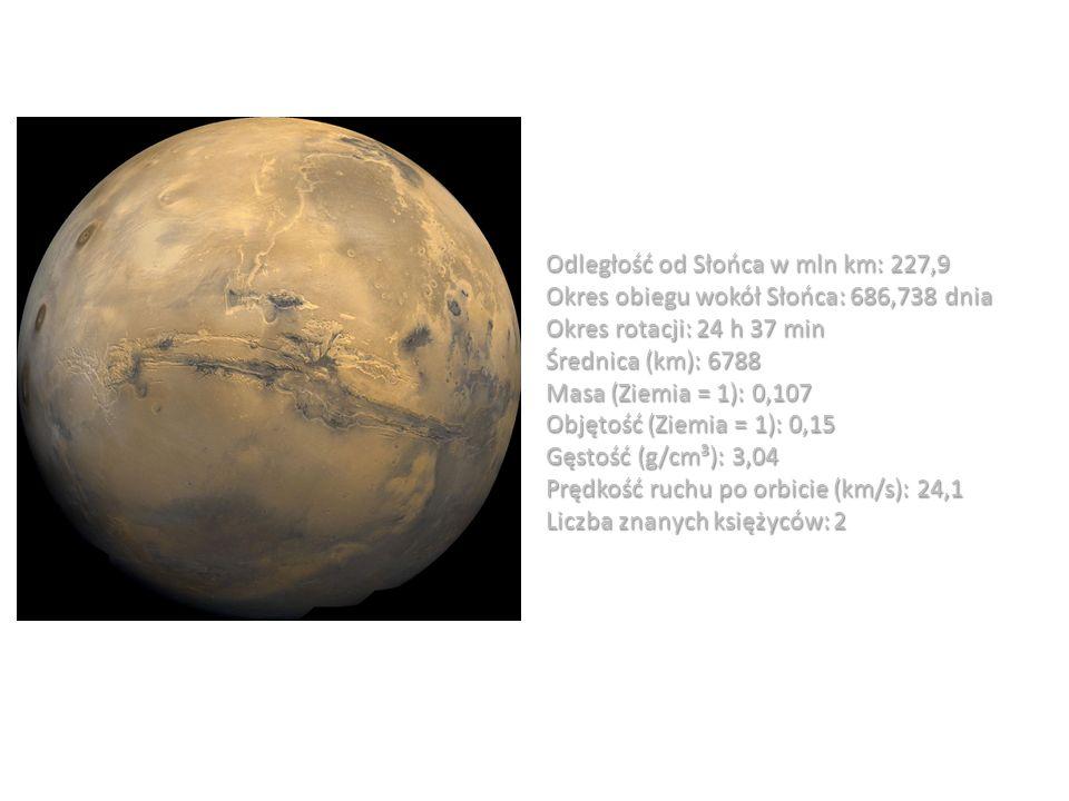Odległość od Słońca w mln km: 227,9 Okres obiegu wokół Słońca: 686,738 dnia Okres rotacji: 24 h 37 min Średnica (km): 6788 Masa (Ziemia = 1): 0,107 Ob