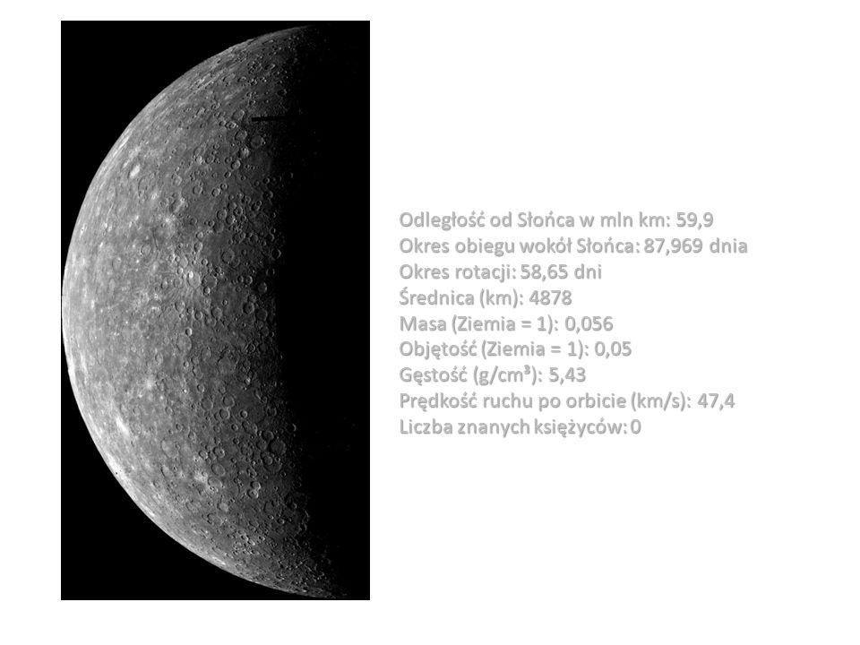 Odległość od Słońca w mln km: 59,9 Okres obiegu wokół Słońca: 87,969 dnia Okres rotacji: 58,65 dni Średnica (km): 4878 Masa (Ziemia = 1): 0,056 Objęto