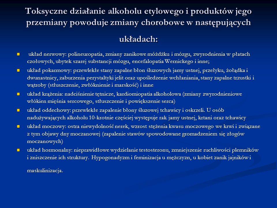 Toksyczne działanie alkoholu etylowego i produktów jego przemiany powoduje zmiany chorobowe w następujących układach: układ nerwowy: polineuropatia, z