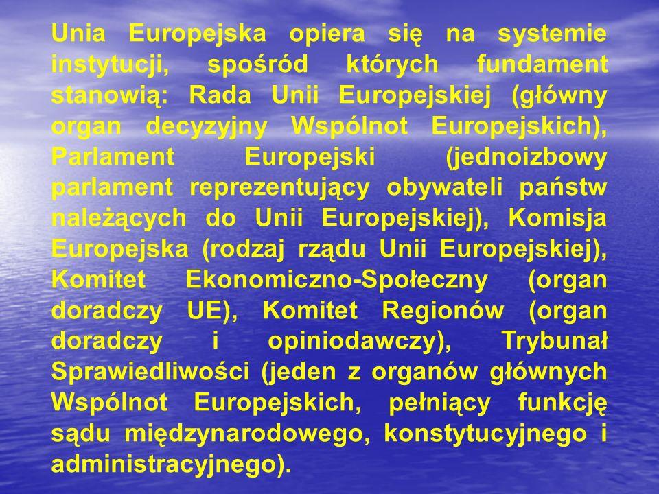 Unia Europejska opiera się na systemie instytucji, spośród których fundament stanowią: Rada Unii Europejskiej (główny organ decyzyjny Wspólnot Europej