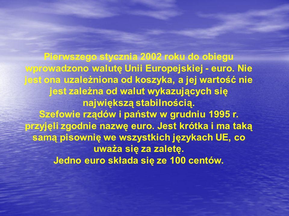 Pierwszego stycznia 2002 roku do obiegu wprowadzono walutę Unii Europejskiej - euro. Nie jest ona uzależniona od koszyka, a jej wartość nie jest zależ