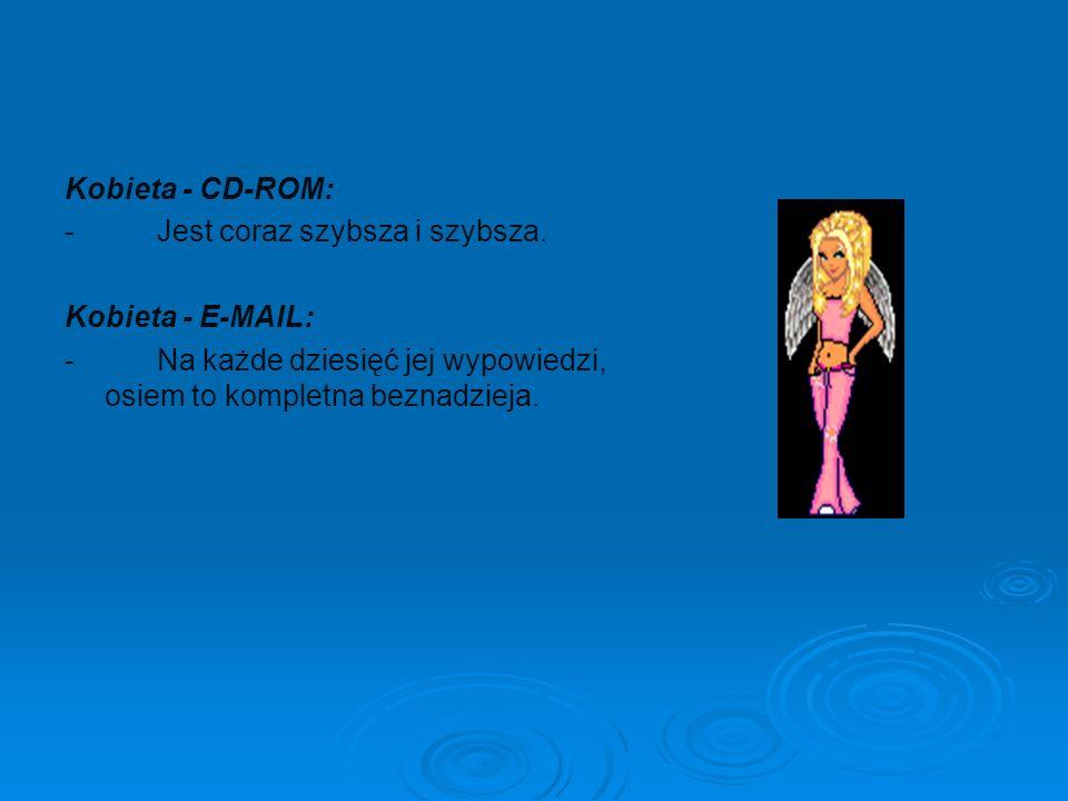 Kobieta - CD-ROM: - Jest coraz szybsza i szybsza. Kobieta - E-MAIL: - Na każde dziesięć jej wypowiedzi, osiem to kompletna beznadzieja.