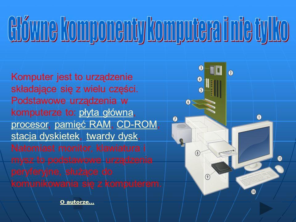 Komputer jest to urządzenie składające się z wielu części. Podstawowe urządzenia w komputerze to: płyta główna, procesor, pamięć RAM, CD-ROM, stacja d