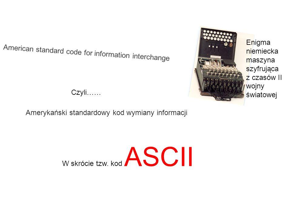 American standard code for information interchange Amerykański standardowy kod wymiany informacji Czyli…… Enigma niemiecka maszyna szyfrująca z czasów
