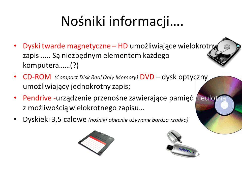Nośniki informacji…. Dyski twarde magnetyczne – HD umożliwiające wielokrotny zapis ….. Są niezbędnym elementem każdego komputera……(?) CD-ROM (Compact