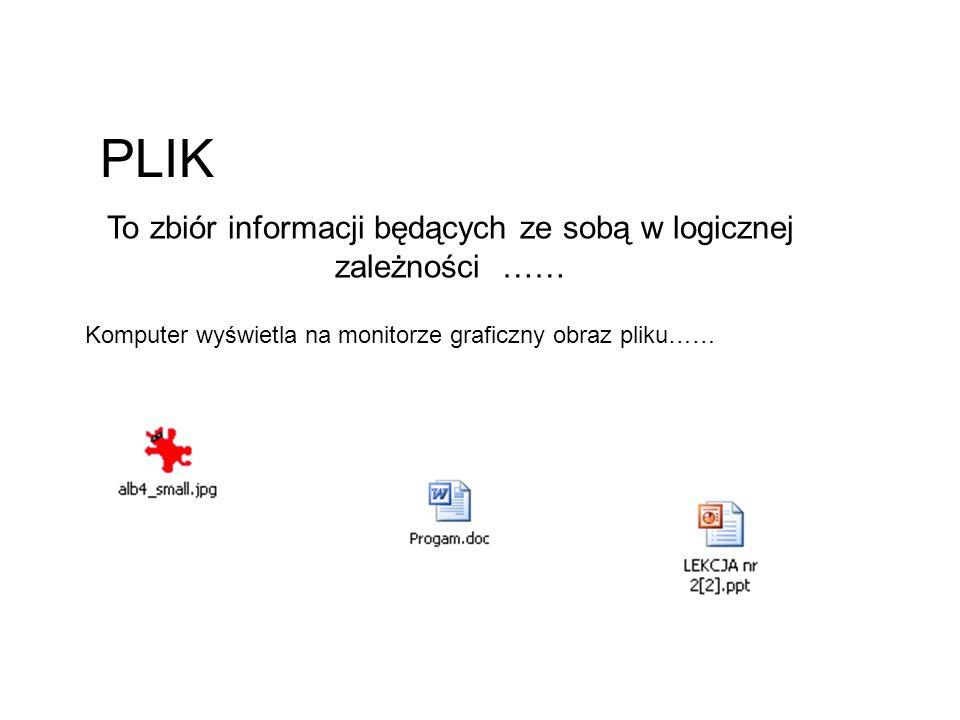PLIK To zbiór informacji będących ze sobą w logicznej zależności …… Komputer wyświetla na monitorze graficzny obraz pliku……