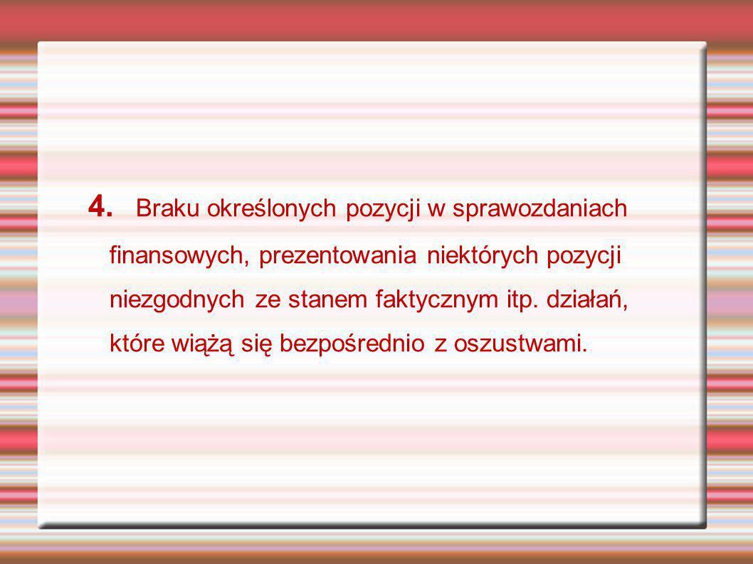 4. Braku określonych pozycji w sprawozdaniach finansowych, prezentowania niektórych pozycji niezgodnych ze stanem faktycznym itp. działań, które wiążą