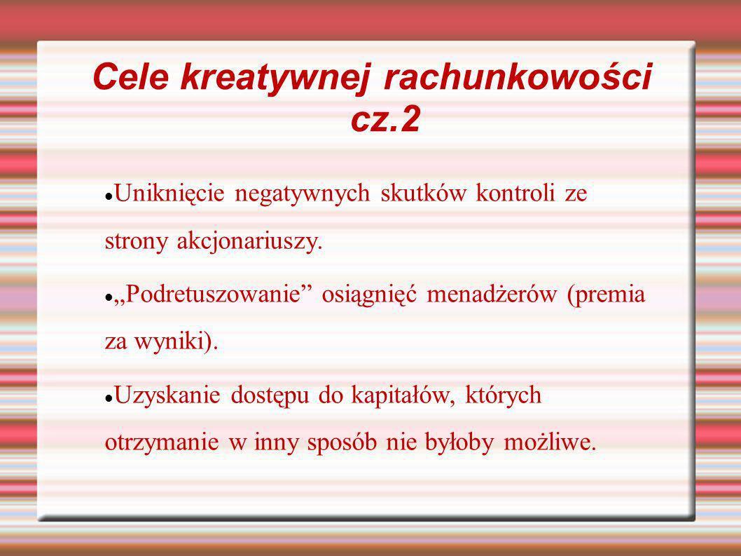 Cele kreatywnej rachunkowości cz.2 Uniknięcie negatywnych skutków kontroli ze strony akcjonariuszy. Podretuszowanie osiągnięć menadżerów (premia za wy
