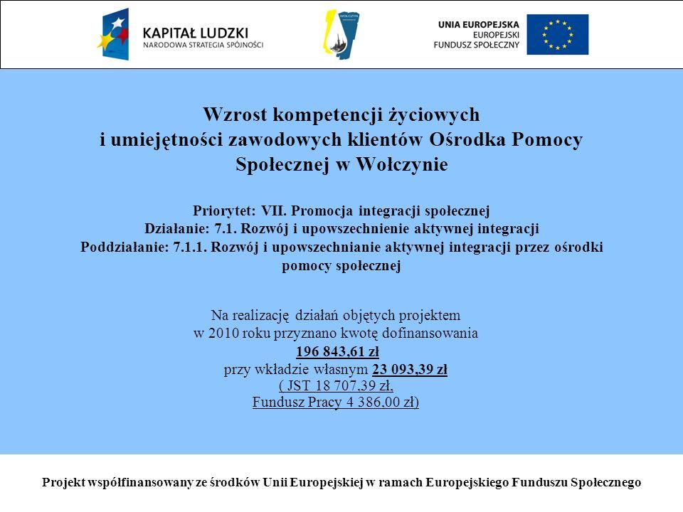 Projekt współfinansowany ze środków Unii Europejskiej w ramach Europejskiego Funduszu Społecznego Wzrost kompetencji życiowych i umiejętności zawodowych klientów Ośrodka Pomocy Społecznej w Wołczynie Priorytet: VII.