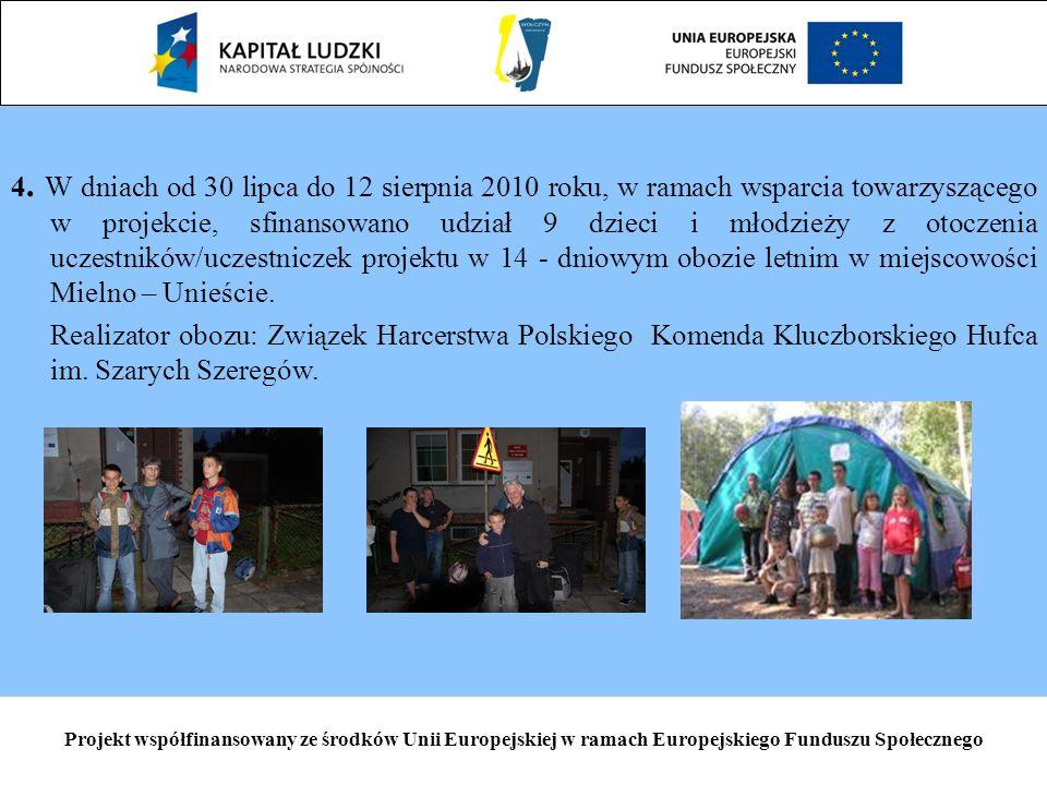4. W dniach od 30 lipca do 12 sierpnia 2010 roku, w ramach wsparcia towarzyszącego w projekcie, sfinansowano udział 9 dzieci i młodzieży z otoczenia u
