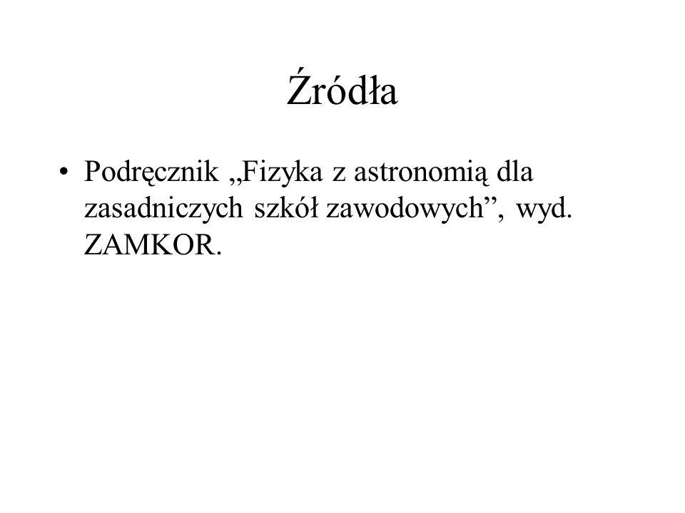 Źródła Podręcznik Fizyka z astronomią dla zasadniczych szkół zawodowych, wyd. ZAMKOR.