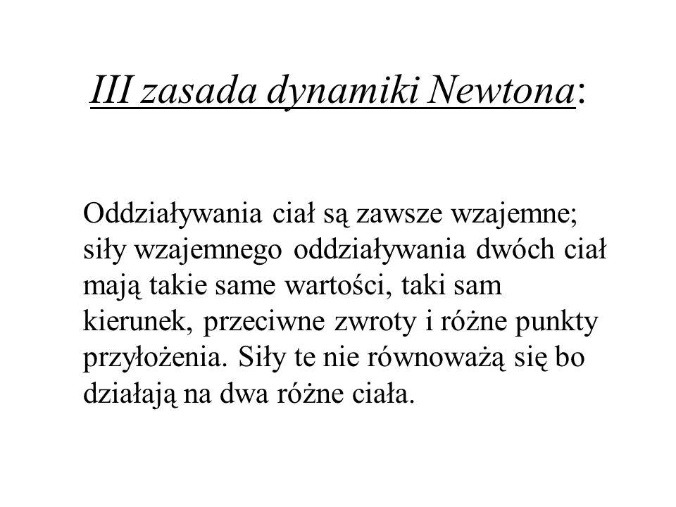 III zasada dynamiki Newtona: Oddziaływania ciał są zawsze wzajemne; siły wzajemnego oddziaływania dwóch ciał mają takie same wartości, taki sam kierun