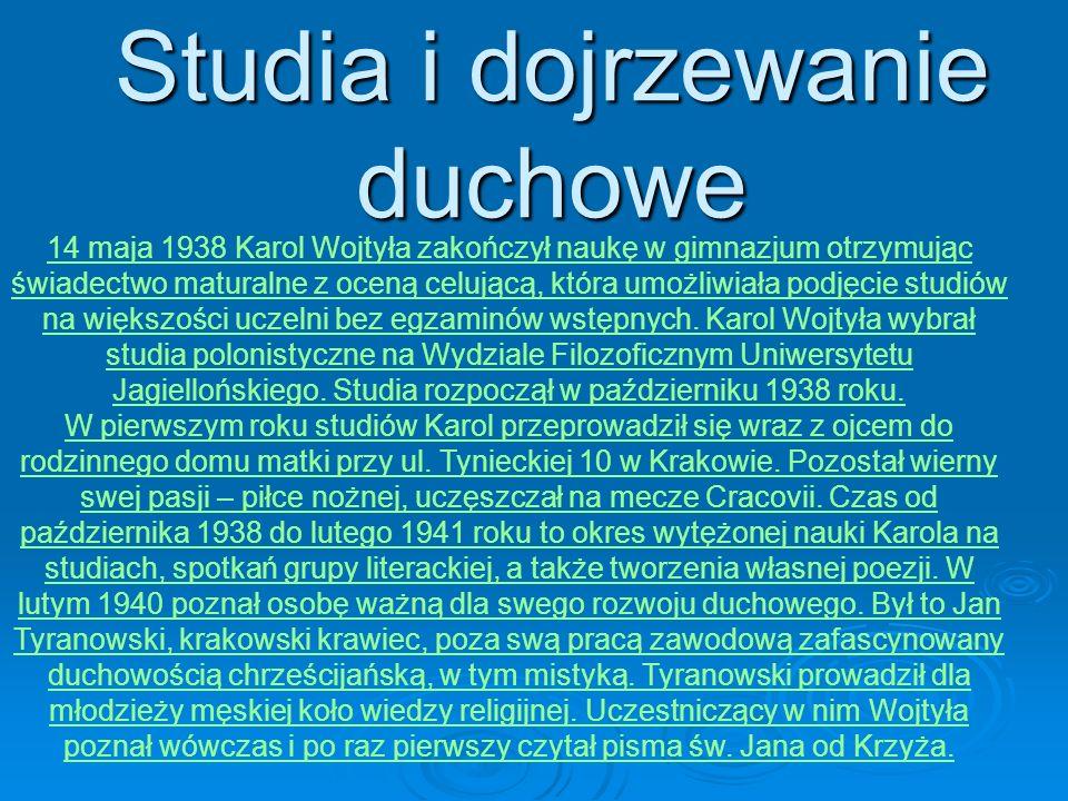 Studia i dojrzewanie duchowe Ks. Figlewicz z ministrantami 14 maja14 maja 1938 Karol Wojtyła zakończył naukę w gimnazjum otrzymując świadectwo matural