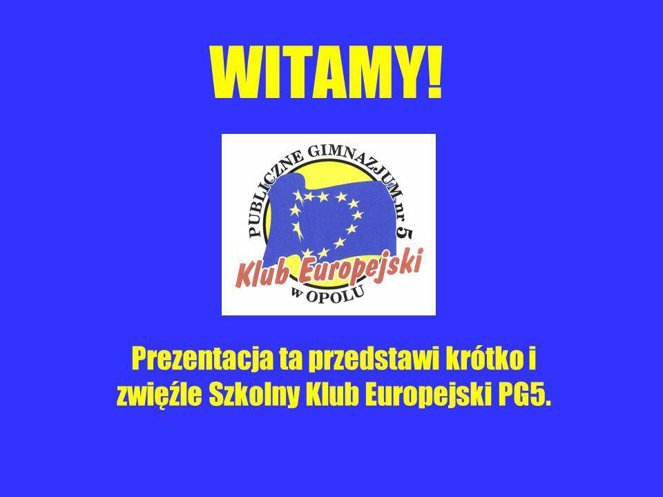 WITAMY! Prezentacja ta przedstawi krótko i zwięźle Szkolny Klub Europejski PG5.