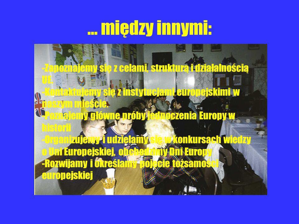 … między innymi: -Zapoznajemy się z celami, strukturą i działalnością UE. -Kontaktujemy się z instytucjami europejskimi w naszym mieście. -Poznajemy g