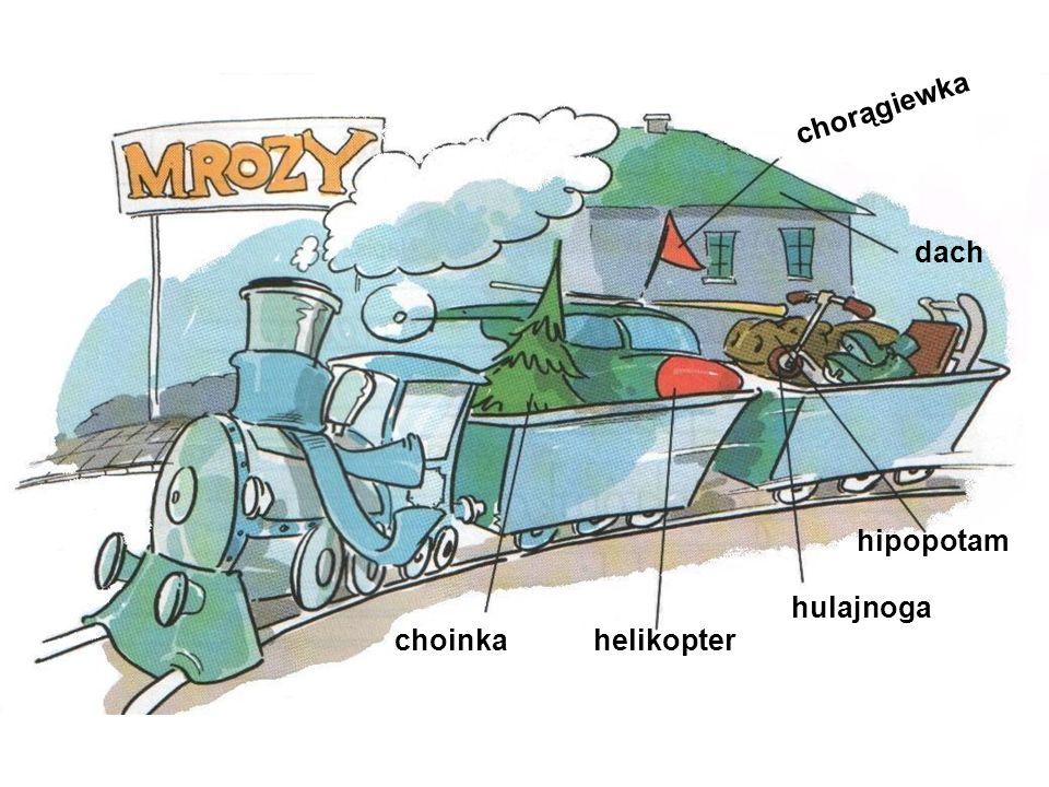 chorągiewka dach hipopotam hulajnoga helikopter choinka