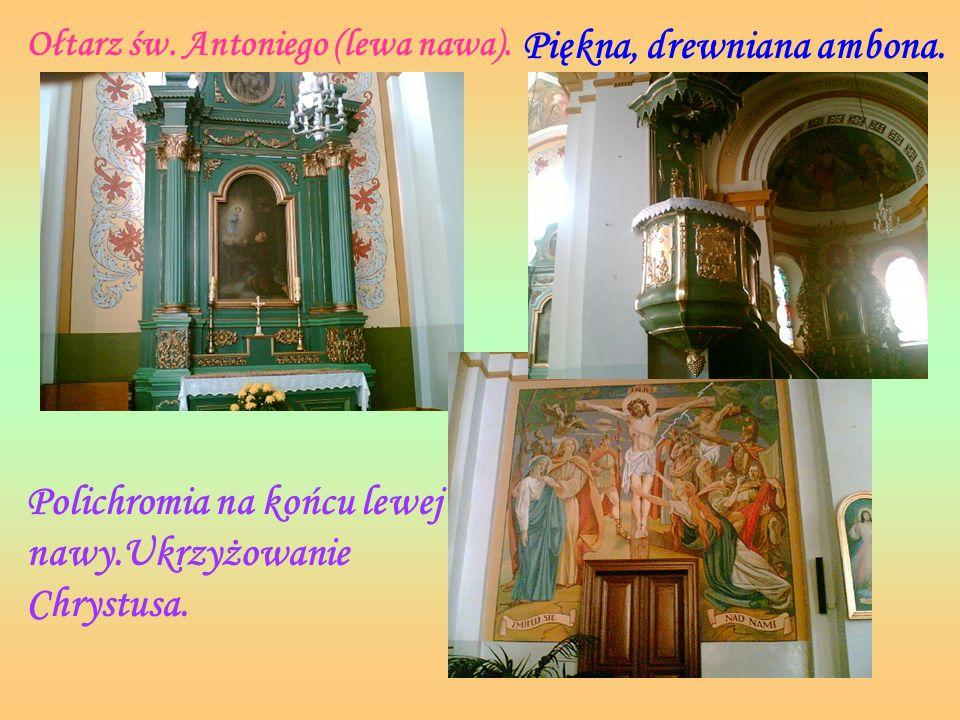 Ołtarz św. Ojca Pio. (prawa nawa) Malowidło w prawej nawie bocznej. Malowidło w lewej bocznej nawie.