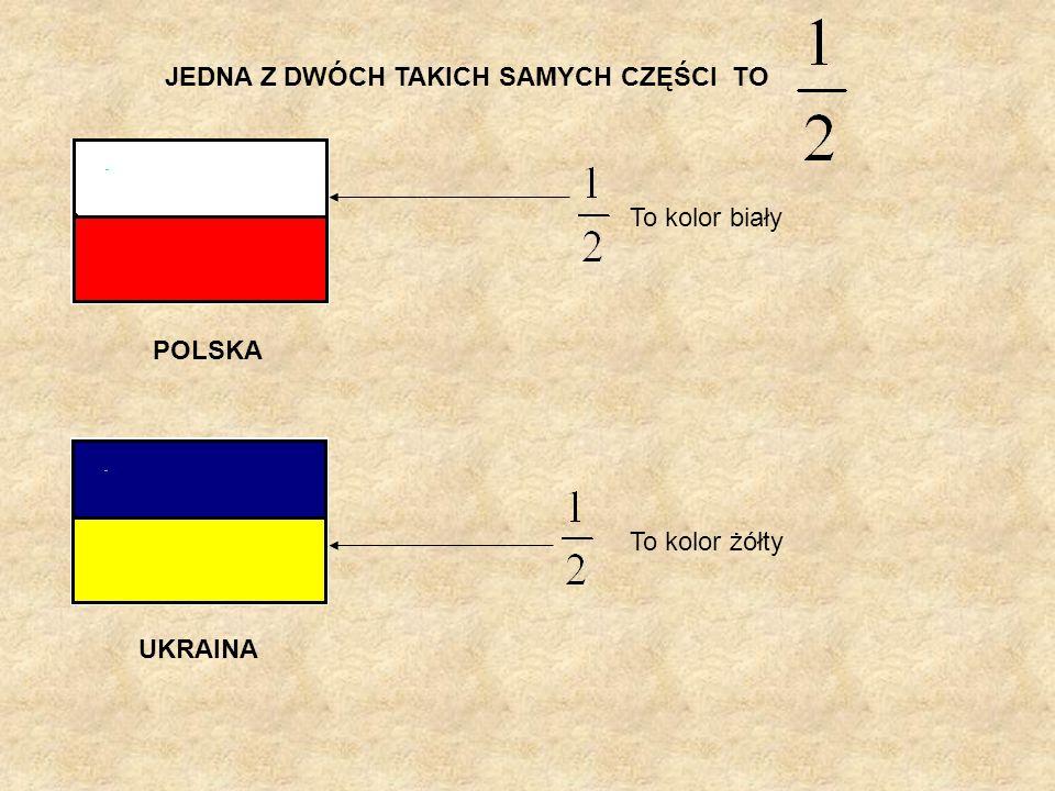 JEDNA Z DWÓCH TAKICH SAMYCH CZĘŚCI TO POLSKA UKRAINA To kolor biały To kolor żółty