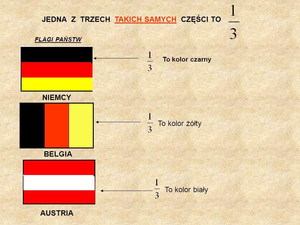 JEDNA Z TRZECH TAKICH SAMYCH CZĘŚCI TO AUSTRIA FLAGI PAŃSTW To kolor biały NIEMCY To kolor czarny BELGIA To kolor żółty