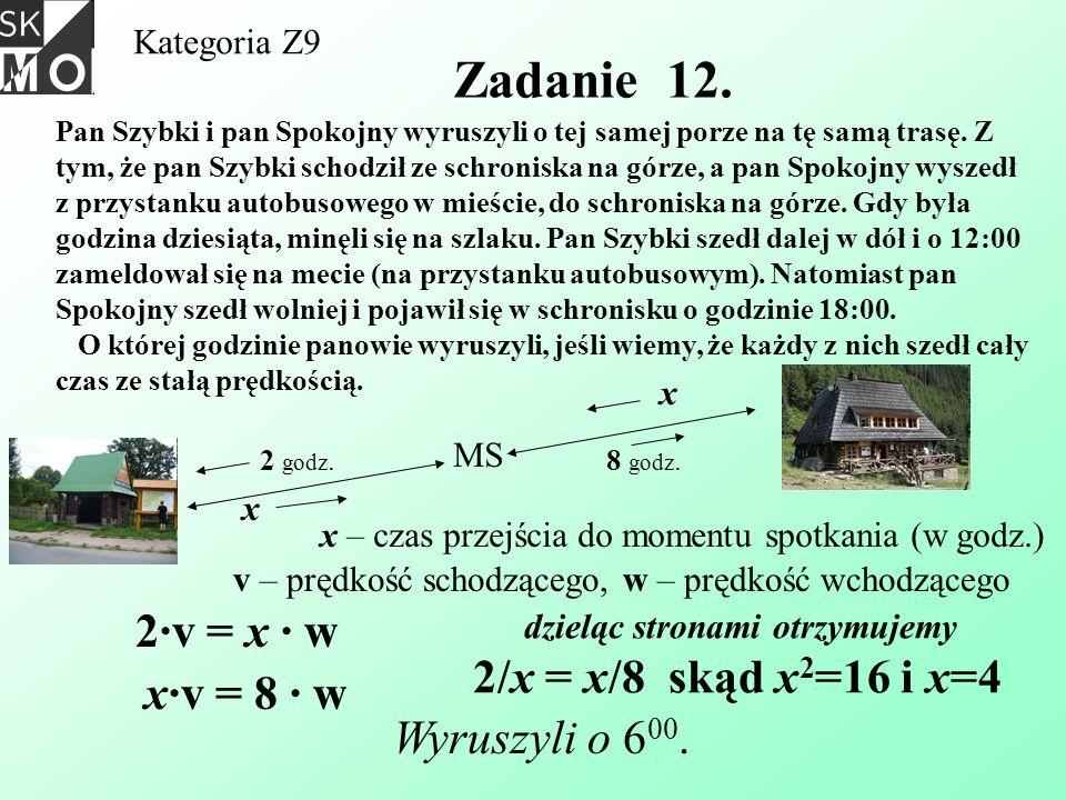 Kategoria Z9 Zadanie 12. Pan Szybki i pan Spokojny wyruszyli o tej samej porze na tę samą trasę. Z tym, że pan Szybki schodził ze schroniska na górze,