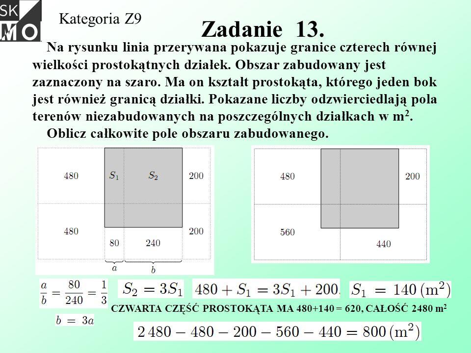 Kategoria Z9 Zadanie 13. Na rysunku linia przerywana pokazuje granice czterech równej wielkości prostokątnych działek. Obszar zabudowany jest zaznaczo