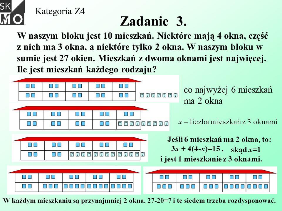 Kategoria Z4 Zadanie 3. W naszym bloku jest 10 mieszkań. Niektóre mają 4 okna, część z nich ma 3 okna, a niektóre tylko 2 okna. W naszym bloku w sumie