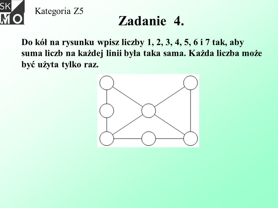 Kategoria Z5 Zadanie 4. Do kół na rysunku wpisz liczby 1, 2, 3, 4, 5, 6 i 7 tak, aby suma liczb na każdej linii była taka sama. Każda liczba może być