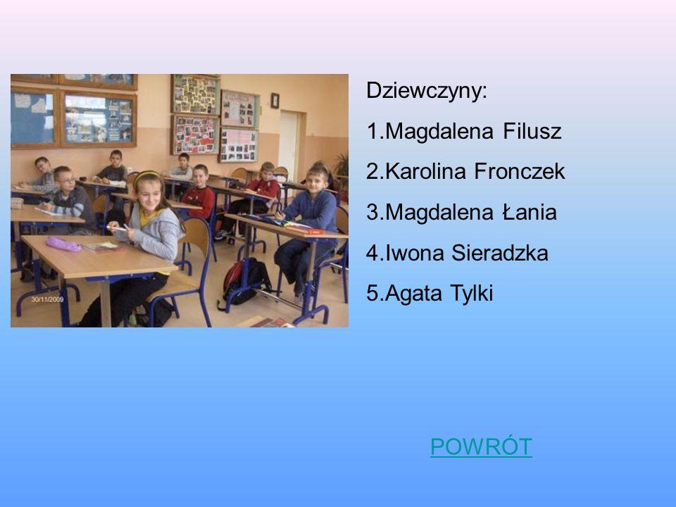 Dziewczyny: 1.Magdalena Filusz 2.Karolina Fronczek 3.Magdalena Łania 4.Iwona Sieradzka 5.Agata Tylki POWRÓT