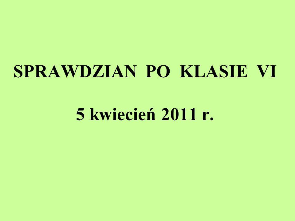 SPRAWDZIAN PO KLASIE VI 5 kwiecień 2011 r.