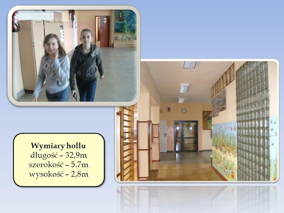 Wymiary hollu długość – 32,9m szerokość – 5.7m wysokość – 2,8m Wymiary hollu długość – 32,9m szerokość – 5.7m wysokość – 2,8m