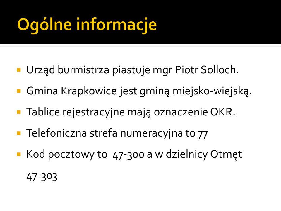 Urząd burmistrza piastuje mgr Piotr Solloch. Gmina Krapkowice jest gminą miejsko-wiejską. Tablice rejestracyjne mają oznaczenie OKR. Telefoniczna stre
